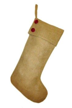 burlap Christmas stocking with velvet buttons, natural/red