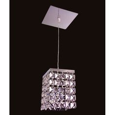 Bedazzle Chrome Mini Pendant with Square Crystal Accents