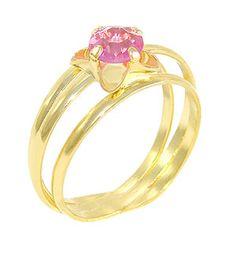 Anel folheado a ouro c/ pedra acrílica de 5,5 mm