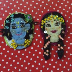 Felt Krsna radhe brooches   I am obsessed with adornments which reflect Krsna !  Would you wear one?  #Krsna #mandala #deskie #namaste #krishna #love #felt #lovefelt #crafty #makersmovement #krsnaart #krishnaart #gopidolls #blue #gopala #govinda #syama #syamasundara #sharma #hindi #hindu #loveofmylife #love #felters