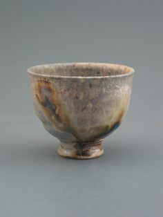 Teacup wood-fired stoneware w/ slip and natural by GREENWOODSTUDIO