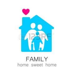 logo familia: Family and home concept. Silhouette family icon and house. Vectores