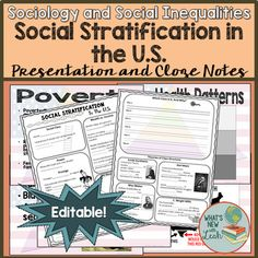 Sociology and Social Stratification in the U. Powerpoint and Cloze Notes Middle School Ela, High School, Social Stratification, Sociology Class, Social Class, Social Studies Classroom, Secondary Teacher, Teacher Notes, New Teachers