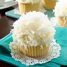 Coconut Cupcakes - Simply dress up a standard vanilla cake mix with creamy, tropical GOYA® Coconut Milk, and top with a decadent yet simple homemade coconut frosting. The results: a double dose of coconut heaven. Kraft Foods, Kraft Recipes, Coconut Lime Cupcakes, Coconut Frosting, Coconut Milk, Buttercream Frosting, Cupcake Recipes, Cupcake Cakes, Dessert Recipes