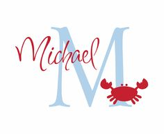 """Name and Initial Vinyl Wall Decal Crab Wall Decal Ocean Theme for Boy Baby Nursery or Boys RoomS226 22""""H x 36""""W Wall Art FS226"""