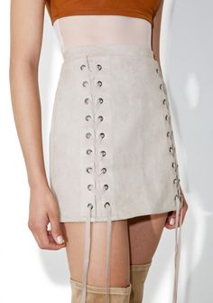 No Strings Attached Lace Up Skirt