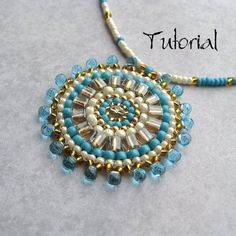 seed bead jewelry - turquoise, gold, pearl medallion pendant