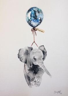Far, Far Away IV  #nursery #illustration #art #elephant Brigitte May