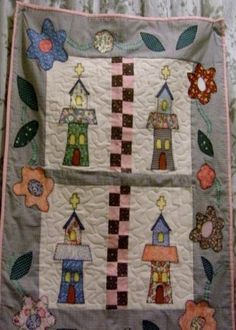 wall hanging, Little Churches, hand made quilt for sale..$45