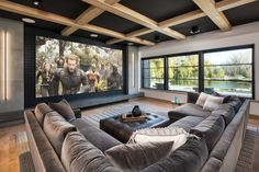 home theater design \ home theater ideas + home theater rooms + home theater + home theater design + home theater seating + home theater ideas on a budget + home theater ideas basement + home theater decor Home Cinema Room, Home Theater Decor, Home Theater Rooms, Home Theater Design, Dream Home Design, Modern House Design, My Dream Home, Home Interior Design, Home Decor