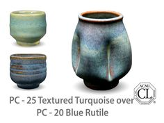Great for layering and textured work, Blue Rutile is an active, complex glaze that is a flowing blue where thick and breaks brown where thinner. Great for layering and always interesting, this glaze is always one of our top selling Potters Choice glazes!