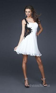 A-Line Chiffon One-Shoulder Short Dress Charm86794