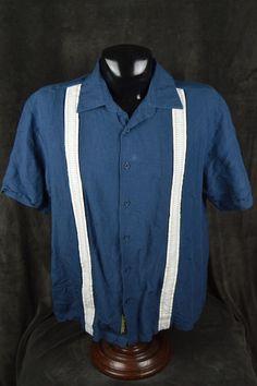 Cubavera XXL 2XL blue white Cuban shirt Linen Rayon blend **SEE CONDITION** #Cubavera #ButtonFront