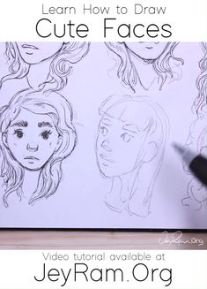 Learn How to Draw Simple & Cute Faces with this Step by Step Video Tutorial! :D - Learn how to draw simple and cute faces with this step by step video tutorial that includes workshe - Art Drawings Sketches, Cute Drawings, Character Drawing, Character Design, Beginner Sketches, Sketches Tutorial, Drawing Challenge, Beautiful Drawings, Drawing Reference