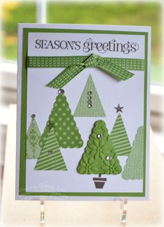 Love to Make Cards: Pennant Parade.  My Christmas card 2012.   Stampin Up punch and paper.