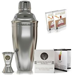 Professional SST Cocktail Shaker SET Bundle w/ Jigger and Recipes / Bartender Tool / Martini Bar Kit