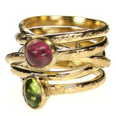 Polemis Hug Wrapped Two Stoned Ring. Sterling Silver with 5 micron Gold Plating, and stones of your choice (aquamarine, pearl, topaz, peridot, tourmaline, amethyst and garnet). This and more handmade Greek jewelry at Athena's Treasures: www.athenas-treasures.com