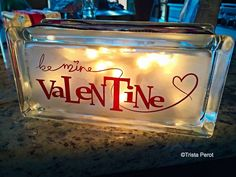 DIY Decorative Glass Blocks - could use vinyl or etch it; strand of lights or single bulb.