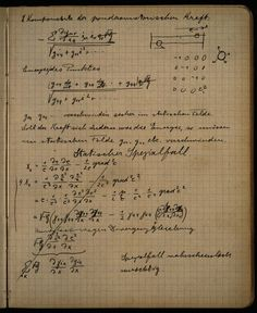"feezix: "" Pages from Albert Einstein's notebook "" I want to wad them up and eat them, and absorb every genius nutrient into my own self. Theoretical Physics, Physics And Mathematics, Quantum Physics, Marie Curie, Astronomy Facts, Theory Of Relativity, Space Time, Astrophysics, Science And Nature"