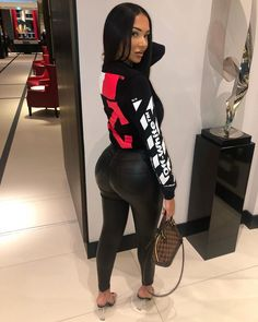 faux leather leggings outfit paired with off white brand sweater and Louis Vuitton small purse Swag Outfits, Dope Outfits, Girl Outfits, Fashion Outfits, Womens Fashion, Look Body, Vetement Fashion, Faux Leather Leggings, Black Girl Fashion