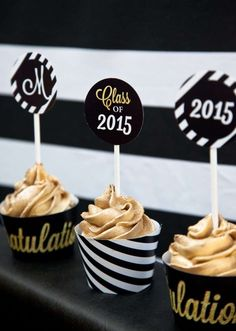 Striking cupcakes at a black and gold graduation party! See more party planning ideas at CatchMyParty.com!