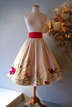 50s Circle Skirt / Vintage 1950's Hand Painted by xtabayvintage, $248.00