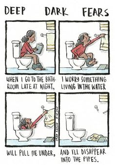Los Angeles-based artist Fran Krause created a series of quirky comic illustrations that depict people's deepest and darkest fears called 'Deep Dark Fears'. Funny Black Memes, Funny Memes, Funny Gags, Hilarious, Fran Krause, Paranormal, Fear Book, Short Creepy Stories, Deep Dark Fears