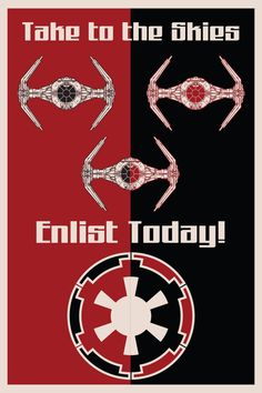 Take to the Skies... Star Wars Art... these star wars propaganda posters are great!  #art, canvas prints, http://www.bluehorizonprints.com.au/canvas_art/31/693/product_details/ X Large 40in x 60in $450, Large 24in x 32in $198, Medium18in x 24in $140, Small12in x 16in $74