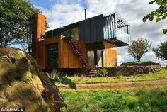 The house Patrick Bradley built: The four shipping containers have been cantilevered over ...