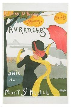 avranches vintage tourism poster MONT SAINT MICHEL french lady 24X36 RARE