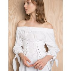 Corset TIe White Off The Shoulder Top ($50) ❤ liked on Polyvore featuring tops, blouses, white off the shoulder shirt, white corset, white shirt blouse, off the shoulder shirts and white blouse