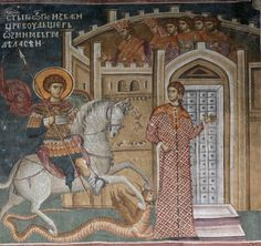 Saint George and the Dragon in Iconography – A Reader's Guide to Orthodox Icons Fresco, Tempera, Saint George And The Dragon, Church Icon, Life Of Christ, Byzantine Icons, Orthodox Icons, Patron Saints, Medieval Art