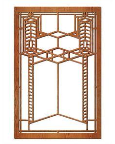 Frank Lloyd Wright Double Robie Glass Hardwood Art Screen Wall Panel