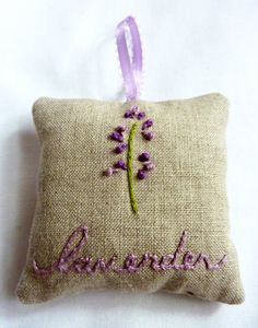 Hand Embroidered Lavender Sachet by thestoryofkat on Etsy
