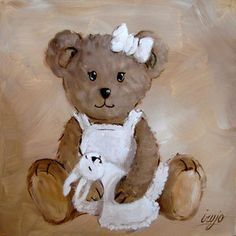 Pretty girl bear cub dressed in white sitting with her toy rabbit comforter - teddy bear decorative painting by Julien Irujo Teddy Bear Cartoon, Teddy Bear Party, Cute Teddy Bears, Tatty Teddy, Art D'ours, Girl Cartoon Characters, Bear Paintings, Bear Illustration, Baby Clip Art