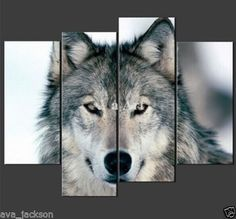 OIL PAINTING MODERN ABSTRACT WALL DECOR ART CANVAS,Grey Wolf 4pc (NO FRAME)