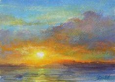 "Daily Paintworks - ""Orange Sunset"" - Original Fine Art for Sale - © Lana Ballot"
