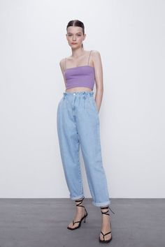 Discover the latest trends in crop tops in ZARA WOMAN Collection Crop Top Outfits, Crop Top Shirts, Cropped Tank Top, Crop Tank, Tank Tops, Casual Outfits, Belly Top, Zara Outfit, Strappy Crop Top