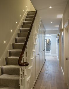 New basement staircase Basement Staircase, Staircase Design, Master Bedroom Interior, Interior Design Living Room, Victorian Hallway, Edwardian Staircase, Victorian Terrace, Hallway Flooring, Wood Flooring