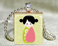 Scrabble Tile Necklace - Kokeshi