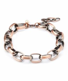 Copper & Pearl Link Bracelet by FIVE #zulily #zulilyfinds