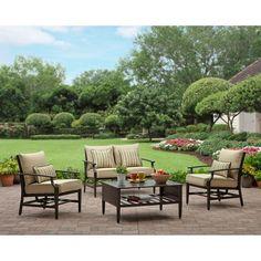 Better Homes And Gardens Shutter 4 Piece Patio Conversation Set Seats