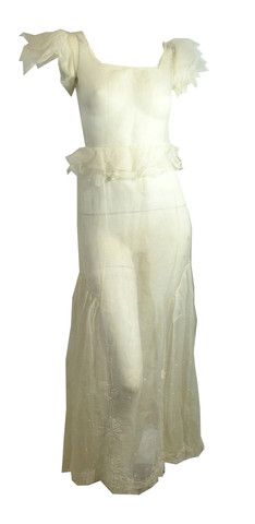 Flutter Sleeve Sheer Ivory Wedding Gown circa 1930s - Dorothea's Closet Vintage