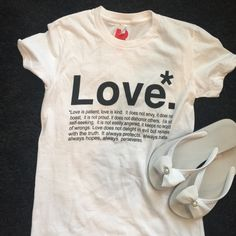 Love is patient ❤️Sweet lil t shirt. This bible verse was read at my wedding that's why I paired it with these cute flip flops that are perfect for a bride❤️ fitted style tee. New never washed it worn. Tops Tees - Short Sleeve