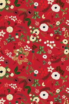 Vintage Christmas Floral Red by twodreamsshop - Hand illustrated white and yellow flowers on a bright red background with green leaves and flowers on fabric wallpaper and gift wrap. Beautiful red pattern in holiday colors. Hd Flower Wallpaper, Red Wallpaper, Pattern Wallpaper, Wallpaper Backgrounds, Iphone Wallpaper, Fabric Wallpaper, Wallpapers, Christmas Background, Christmas Wallpaper