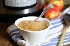 a close up of a white bowl filled with instant pot applesauce on a blue striped dish towel French Coconut Pie, Nutritious Snacks, Tasty Kitchen, No Sugar Foods, Recipe Community, Have Time, Cookies Et Biscuits, Just In Case, Instant Pot