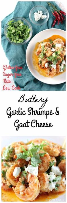 My PCOS Kitchen - Buttery Garlic Shrimps Goat Cheese - Creamy shrimps cooked in a paprika butter sauce and smothered with delicious goat cheese. via My PCOS Kitchen Lunch Recipes, Seafood Recipes, Dinner Recipes, Healthy Gluten Free Recipes, Low Carb Recipes, Paleo, Ww Recipes, Buttery Garlic Shrimp, Keto Foods