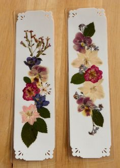 HANDMADE BOOKMARKS Natural Pressed Flower Collage Set of 2 $9.50