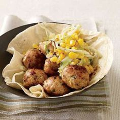 Chipotle-Chicken Meatballs - Rachael Ray Every Day Chicken Meatball Recipes, Chicken Meatballs, Best Chicken Recipes, Turkey Recipes, Dinner Recipes, Chicken Ideas, Turkey Dishes, Chicken Wraps, Meat Recipes