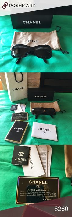 😎Chanel Shades😎 100% authentic Chanel shades-comes with tags, authentic card, receipt, box, bag, and dust bag.  Worn once maybe twice. EUC CHANEL Accessories Sunglasses
